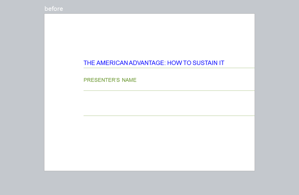 Title slide says The American Advantage: How to Sustain It.