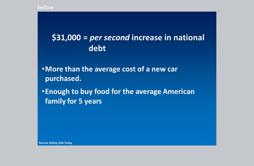 "Slide: ""$31,00 = per second increase in national debt."""